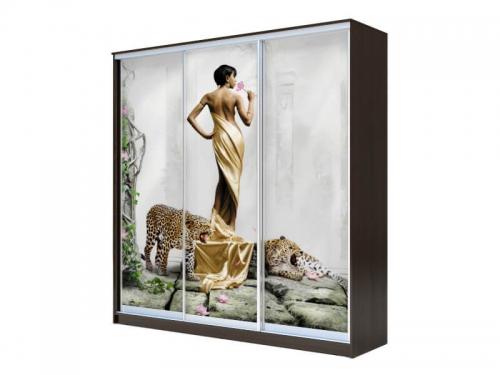 Шкаф-купе Хит 3-х дверный Девушка с леопардом