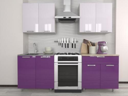 Кухня Умница Белый-Виолетта МДФ
