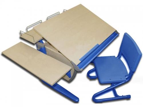 Парта Дэми СУТ-14-02 с задней и боковой полкой синяя